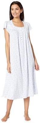 Eileen West Cotton Jersey Knit Short Sleeve Ballet Nightgown (White Ground/Mono Leaf) Women's Pajama
