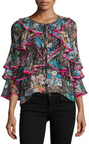 Peter Pilotto Tiered Frill-Sleeve Botanical-Print Blouse, Black