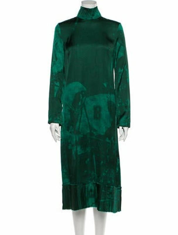 Band Of Outsiders Printed Midi Length Dress Green