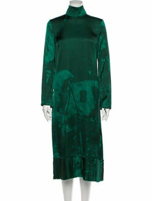 Band Of Outsiders Printed Midi Length Dress Green
