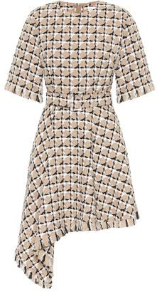Cotton and wool tweed minidress