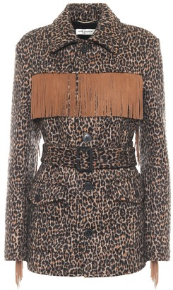 Saint Laurent Leopard-print wool and alpaca jacket