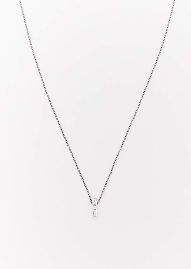 Ileana Makri 3 Diamonds Thread Baguette Necklace White Gold Oxidised