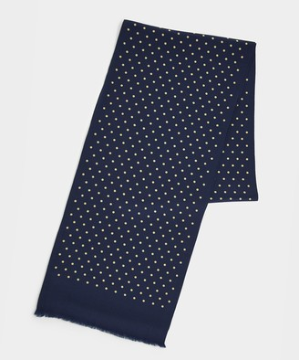 Drakes Two sided Tubular Silk Scarf Navy