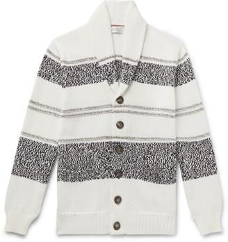 Brunello Cucinelli Shawl-Collar Striped Cotton Cardigan