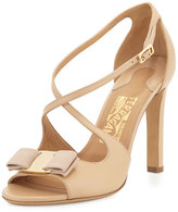Salvatore Ferragamo Gabrielle Bow Leather Sandal, New Bisque