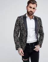 Devils Advocate Premium Floral Skinny Fit Embroidered Blazer