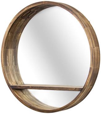 "Crystal Art Round Wooden Wall Mirror with Storage Shelf - Brown (28"")"