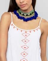 Glamorous Embroidered Pom Pom Choker