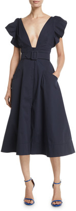 Oscar de la Renta Deep-V Flutter-Sleeve Belted A-Line Cotton Twill Midi Dress