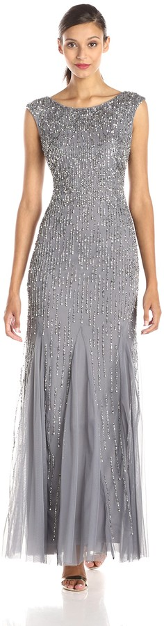 Adrianna Papell Women's Sleeveless Beaded Gown with Godets and Linear Beading
