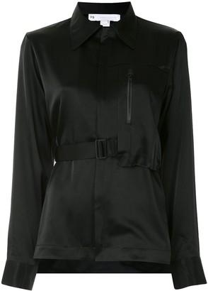 Y-3 Asymmetric Belted Satin Shirt