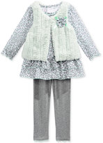 Nannette Baby Girls' 3-Pc. Faux Fur Vest, Animal-Print Tunic & Leggings Set