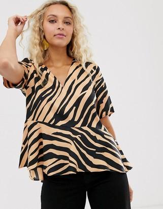 InWear Turlington tiger print asymmetric blouse