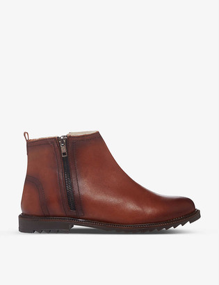 Bertie Prestley burnished leather ankle boots
