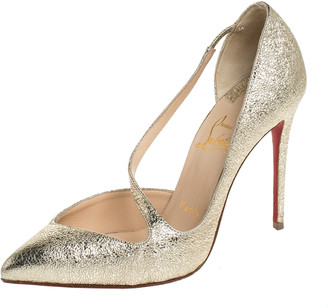 Christian Louboutin Metallic Gold Textured Leather Jumping Cross Strap Pumps Size 35.5