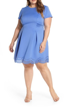Vince Camuto Laser Cut Scuba Crepe Fit & Flare Dress (Plus Size)