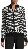 Joan Vass Zebra-Print Zip-Front Jacket