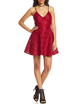 Teeze Me Bonded-Lace Party Fit-and-Flare Dress
