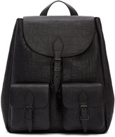 Saint Laurent Black Croc-Embossed Medium Festival Backpack