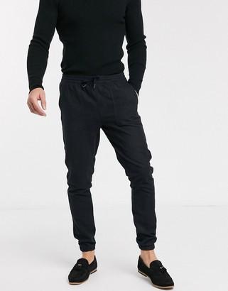 Topman flannel joggers in black