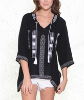Paparazzi Black & White Embroidered Tassel Sidetail Top