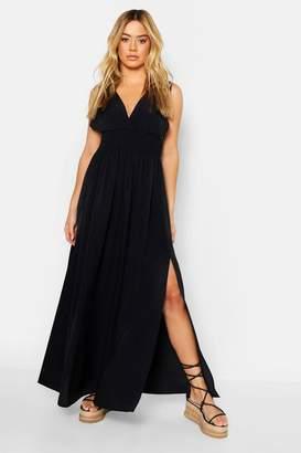 boohoo Petite Plunge Shirred Waist Maxi Dress