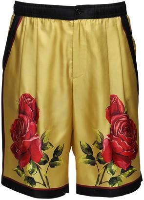 Dolce & Gabbana Love Is Love Rose Print Silk Shorts