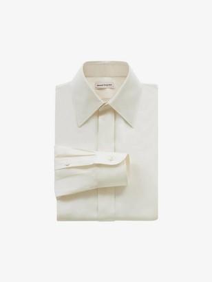 Alexander McQueen Pointy Collar Silk Poplin Shirt