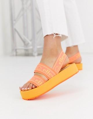 Ellesse giglio flatform logo sandal in orange