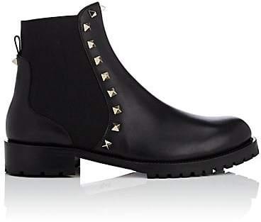 Valentino Women's Rockstud Leather Biker Ankle Boots - Black