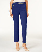 JM Collection Petite Ankle Belted Pants, Only at Macy's