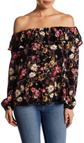 Hip Off-the-Shoulder Floral Ruffle Woven Shirt