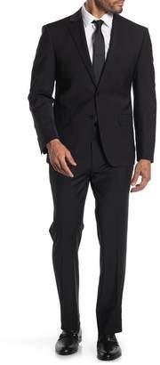 Calvin Klein Black Solid Two Button Notch Lapel Extra Slim Fit Suit