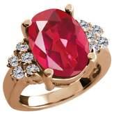 Gem Stone King 4.48 Ct Last Dance Pink Mystic Quartz White Diamond Rose Gold Plated Silver Ring