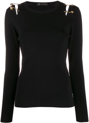 Versace safety-pin cut-out T-shirt
