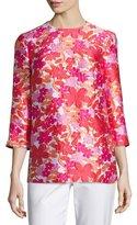 Michael Kors Floral Jacquard 3/4-Sleeve Tunic, Pink/Multi