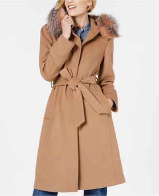 1 Madison Belted Fox-Fur-Trim Walker Coat