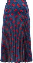 Gucci Plissé-lamé Midi Skirt - Navy