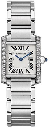Cartier Tank Francaise de Small Stainless Steel & Diamond Bracelet Watch