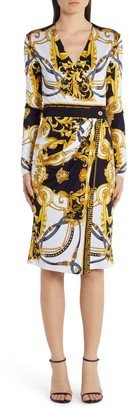 Versace Barocco Rodeo Print Long Sleeve Faux Wrap Dress