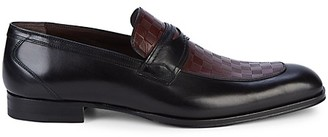 Mezlan Check Leather Penny Loafers