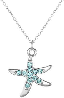Handmade Jewelry by Dawn Small Aqua Rhinestone Pewter Starfish with Sterling Silver Cable Chain Necklace