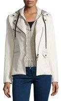 Veronica Beard Stretch Jacket w/ Striped Hoodie Dickey, Ecru