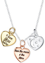 Unwritten Tri-Tone Moon and Back Pendant Necklace in Sterling Silver