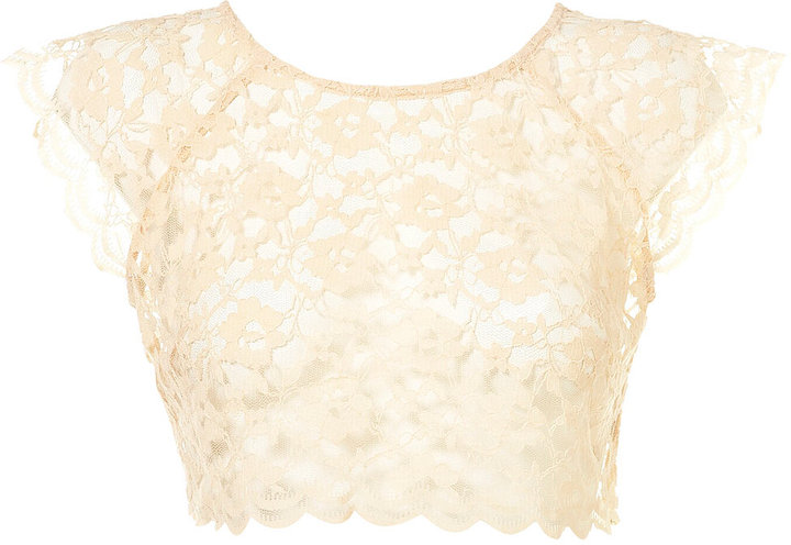 Topshop Premium All Over Lace Crop Top