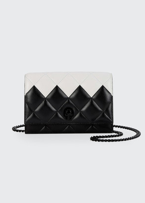 Alexander McQueen Two-Tone Quilted Leather Small Skull Bag