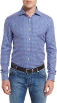 Kiton Small-Check Woven Dress Shirt, Blue