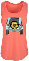 Instant Message Women's Women's Tank Tops HEATHER - Heather Coral Sunflower Tire Cover Racerback Tank - Women