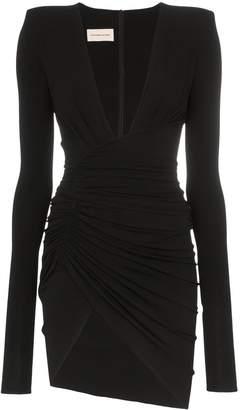 Alexandre Vauthier deep V-neck ruched mini-dress